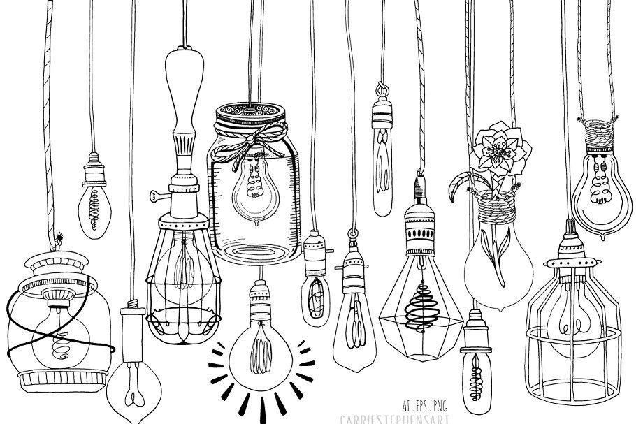 Hanging Light Bulb Line Art Drawings #Bulb#Light#Hanging# ...