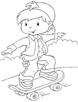 Desenho De Crianca Andando De Skate Criancas Para Colorir