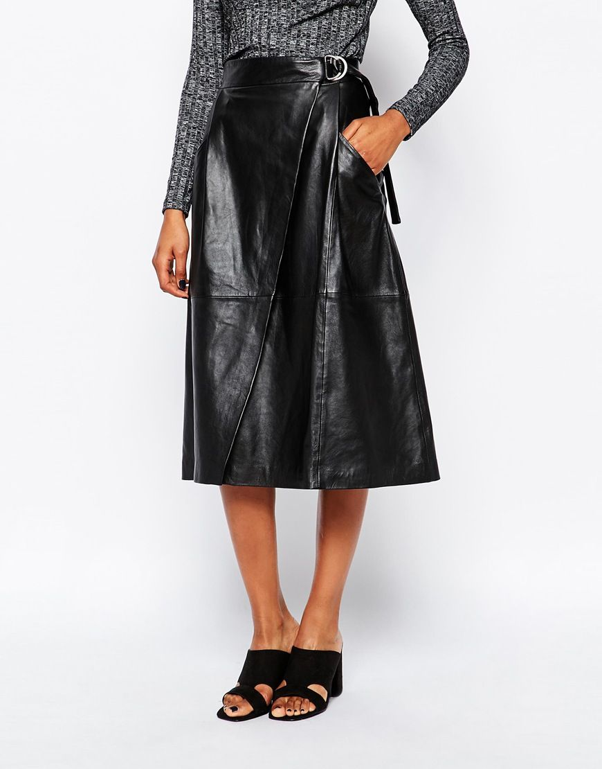 085a8dae9 Image 4 of Whistles Wrap Leather Midi Skirt | My Style | Pinterest .