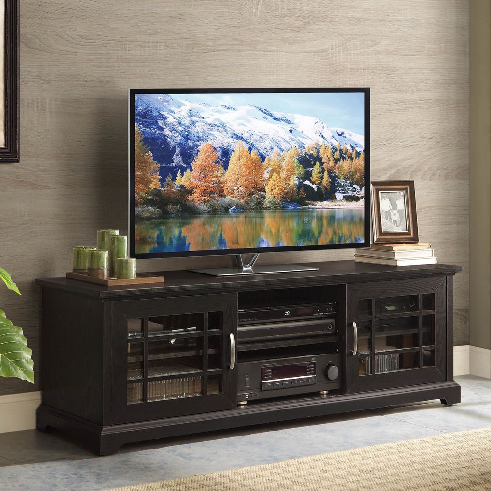 "TV Stand Entertainment Center Media Cabinet Console Glass Doors 3 Shelves 70"" #WF #Contemporary"