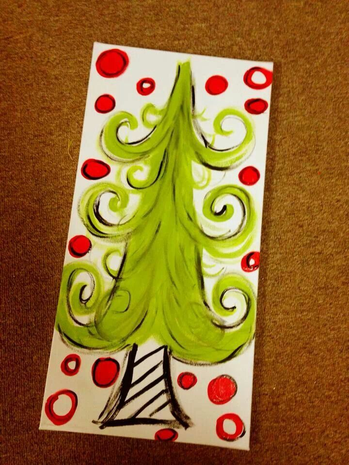 wonderful Cute Christmas Canvas Paintings Part - 19: Too cute!! We can have the kids paint their own Christmas tree!