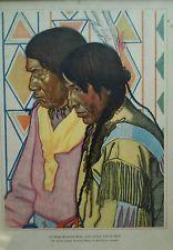 40s WINOLD REISS Great Northern Railway Print 2 Blackfeet Pecunnie Braves kp