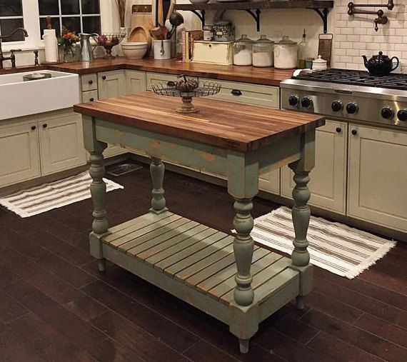 Farmhouse Butcherblock Kitchen Island Kitchen Remodel Small Kitchen Design Small Kitchen Remodeling Projects
