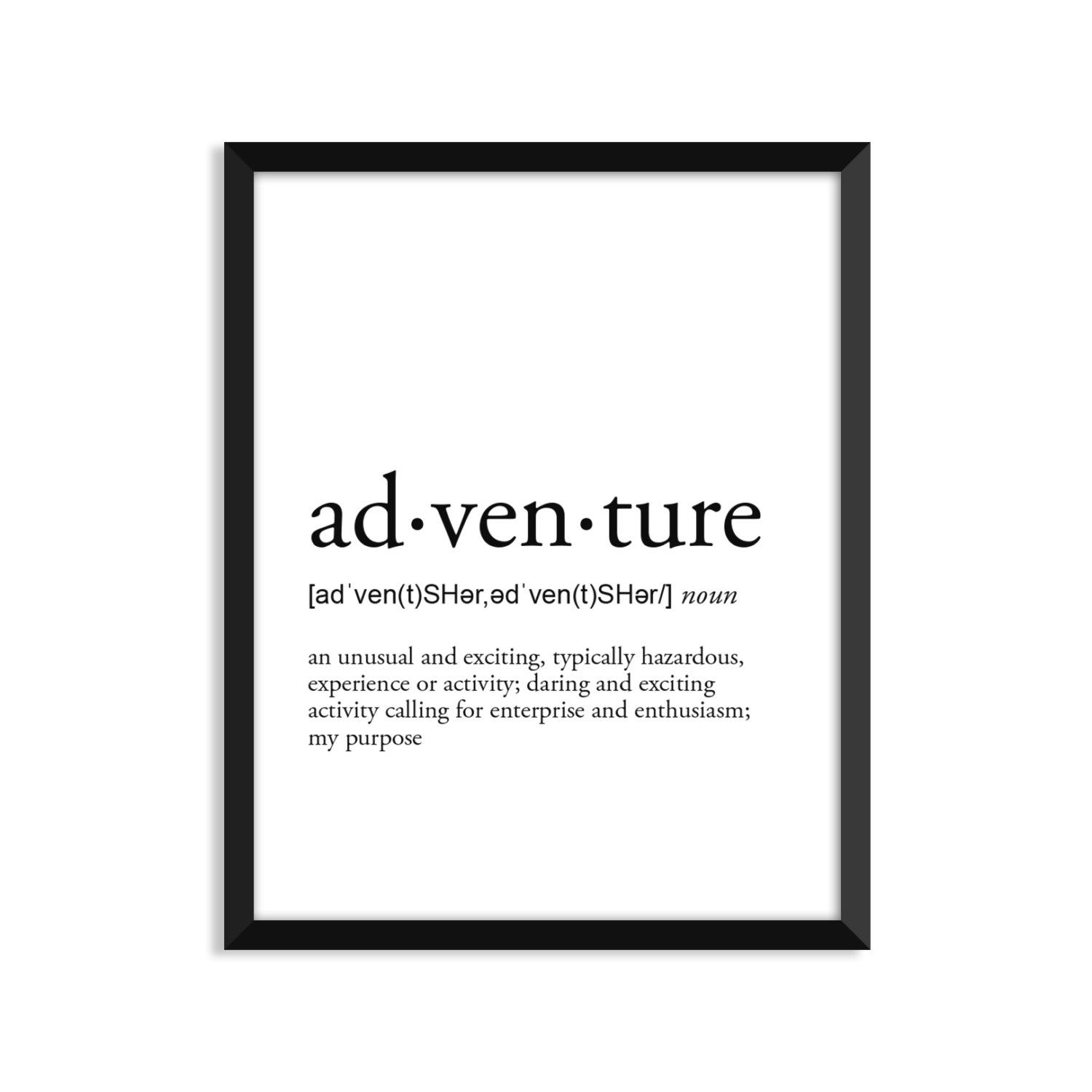 Adventure definition romantic dictionary art print office | Etsy
