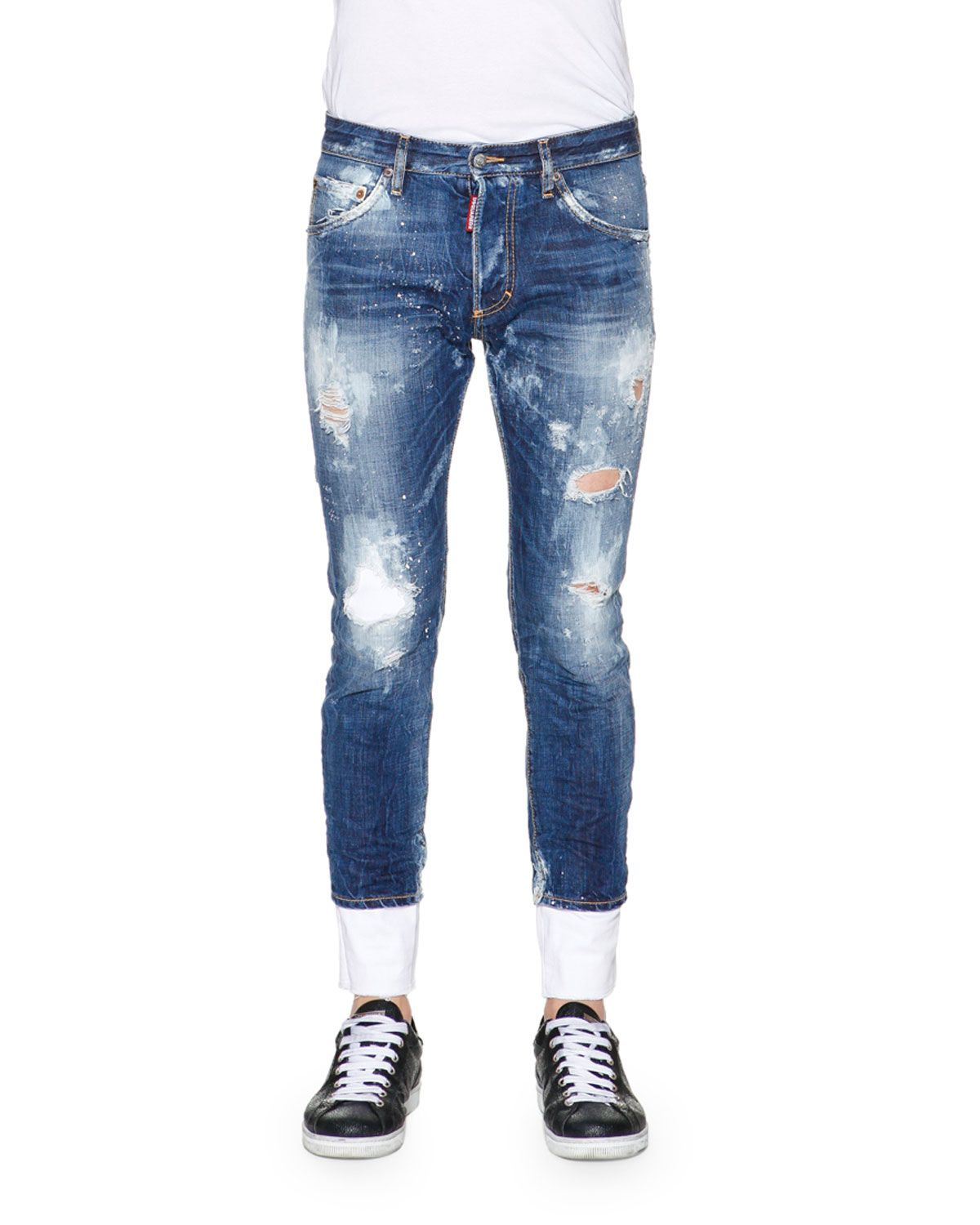 db82847193 DSquared2 denim jeans with bleached and distressed details. Five-pocket  style. Leather logo patch at back waist. Whiskering at thighs  ripped  details.