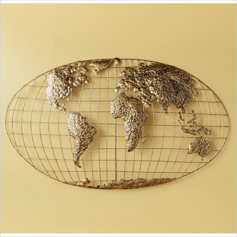Southern Enterprises Iron World Map Wall Art in Gold Brushed Finish - GA1152R