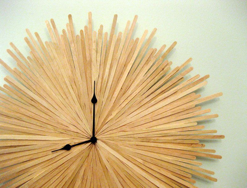 Creative DIY Wall Clock Ideas!   This One Made Out Of Wood Coffee Stir  Sticks