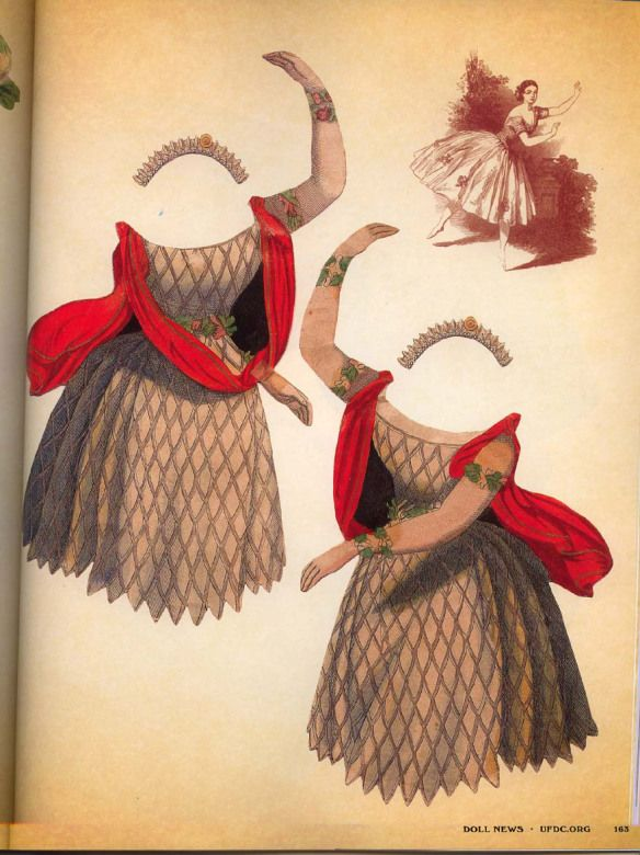 """This was printed in Germany, ca 1830 This is a lovely set – what a thrill it must have been to see her dance. This came from """"The United Federation of Doll Clubs"""" spring 2012 iss…"""