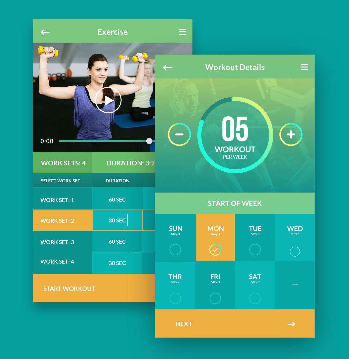 Adasse Gym workout mobile app design on Behance Gym app
