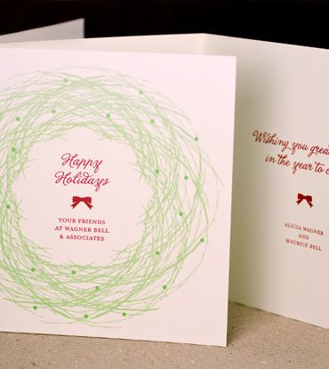 Christmas Wreath Folded Holiday Card Graphic Ideas Pinterest