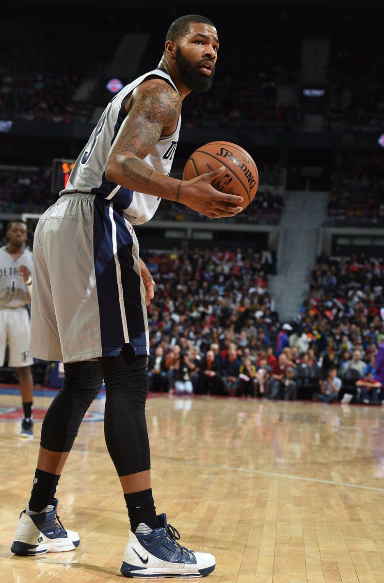 new product 0c127 ec0ea Marcus Morris wearing the Nike Zoom LeBron 3 in White Navy (1)