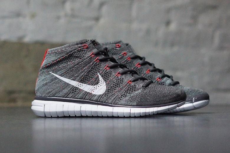 Men's Nike Free Flyknit Chukka Midnight Fog Mica Green Bright Cream Sneakers : P46a4539