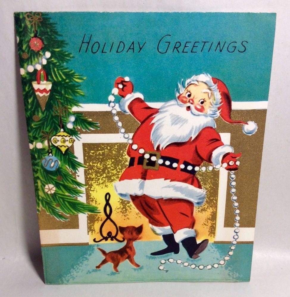 Santa Clause Decorating Xmas Tree Kitten 1959 Vintage Christmas