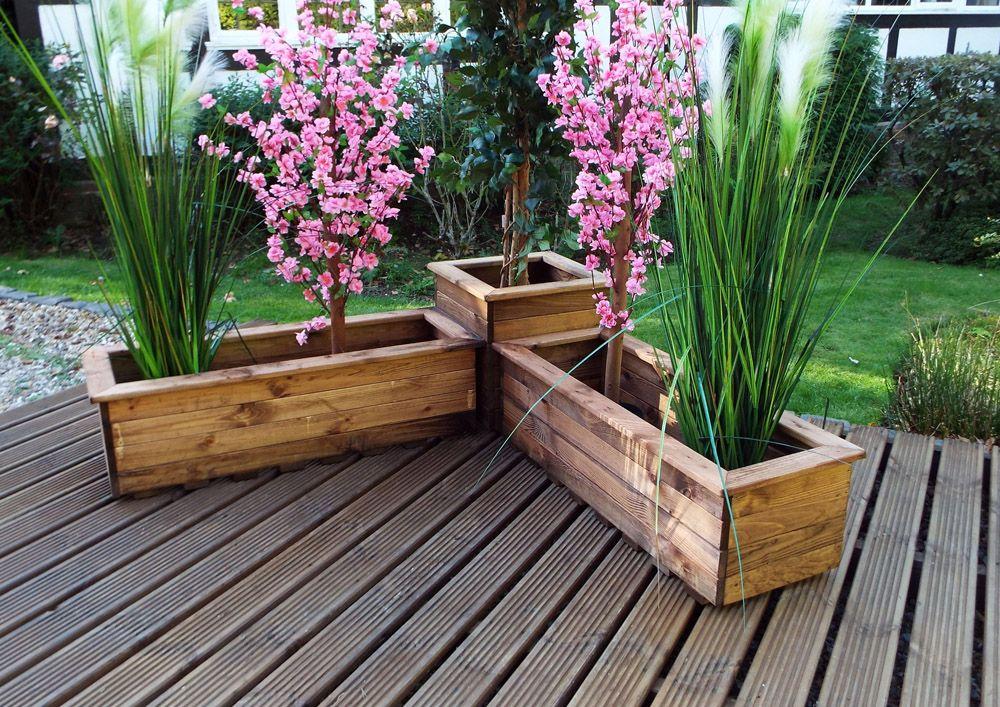 Charles Taylor Three Piece Corner Planter Set FSC Redwood £99.99