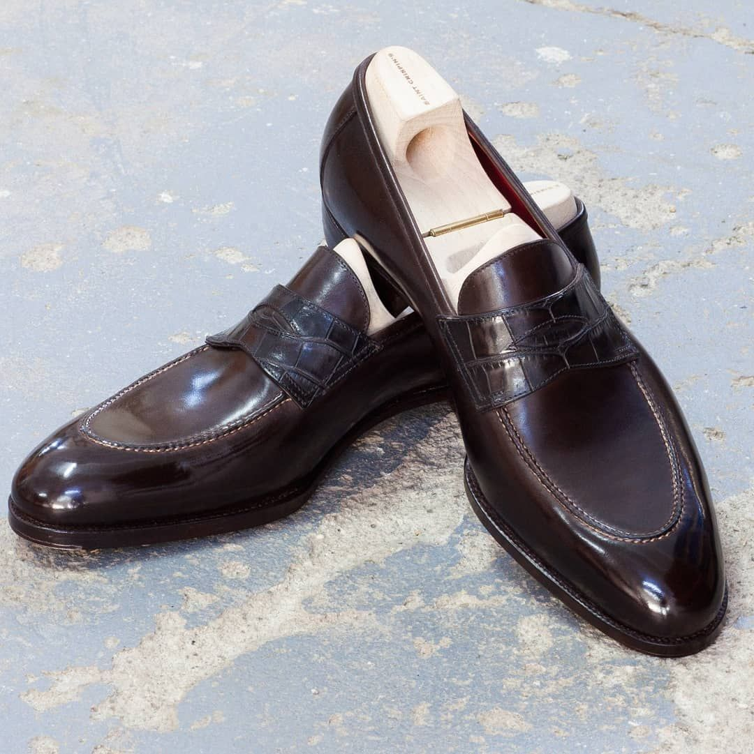 004562c0e13 539 - Penny Loafer with Croc strap on Classic last.  saintcrispins Saint