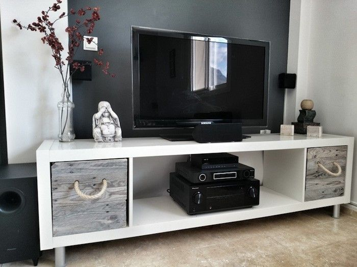Faire meuble tv etagere kallax ikea expedit