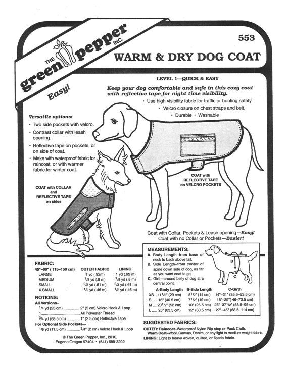 Green Pepper Sewing Patterns Dog Coat Sewing Pattern Dog Coat ...