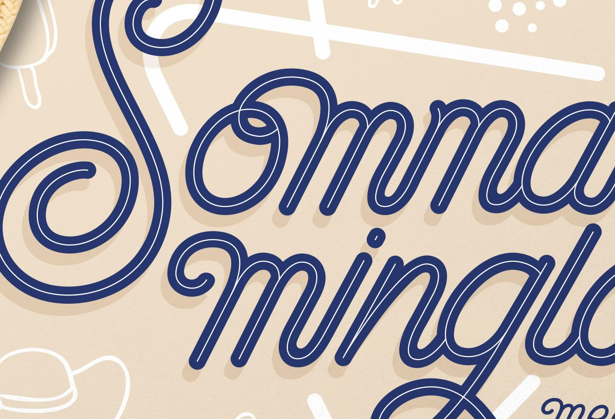 Summer party invitation #lettering #layout and #illustration, by Björn Berglund Creative Studio, www.bjornberglund.com