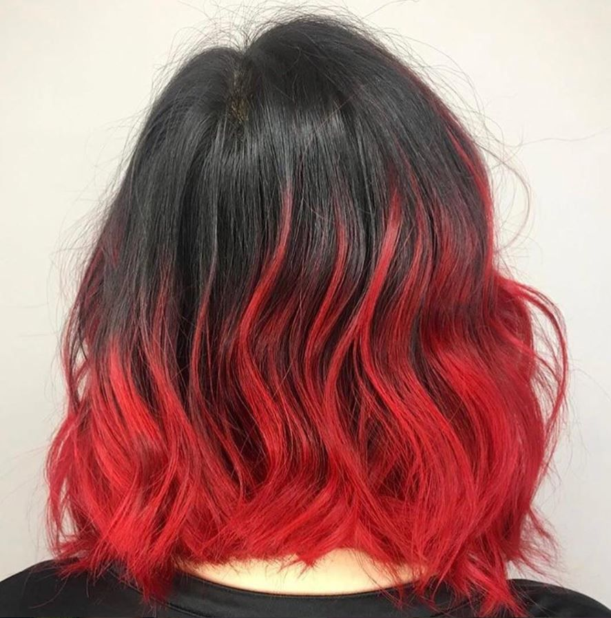 The Secret To A Hot Look The Answer Is In The Hair Color By Bobbypinsetc Using Sparks Red Velvet Spar Red Hair Tips Black Hair Red Tips Black Red Hair