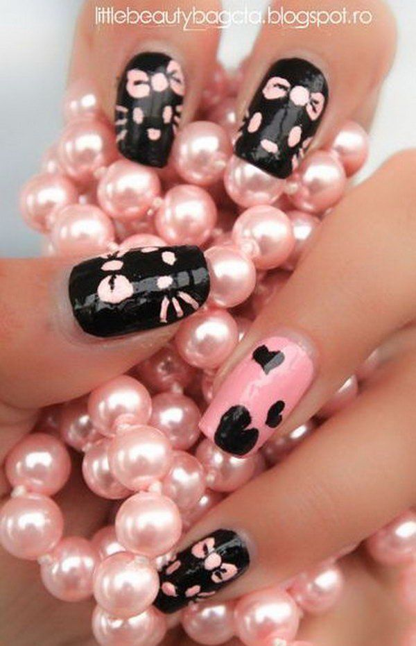 Cute and Creative Hello Kitty Nail Art Designs http://hative.com ...