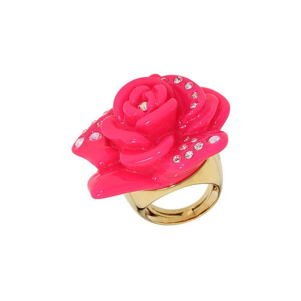 Juicy Couture - Resin Rose w/ Pave Ring (Red) - Jewelry ($52) ❤ liked on Polyvore featuring jewelry, rings, accessories, pink, juicy couture, women's jewelry, pave ring, engagement rings, resin jewelry and cocktail rings