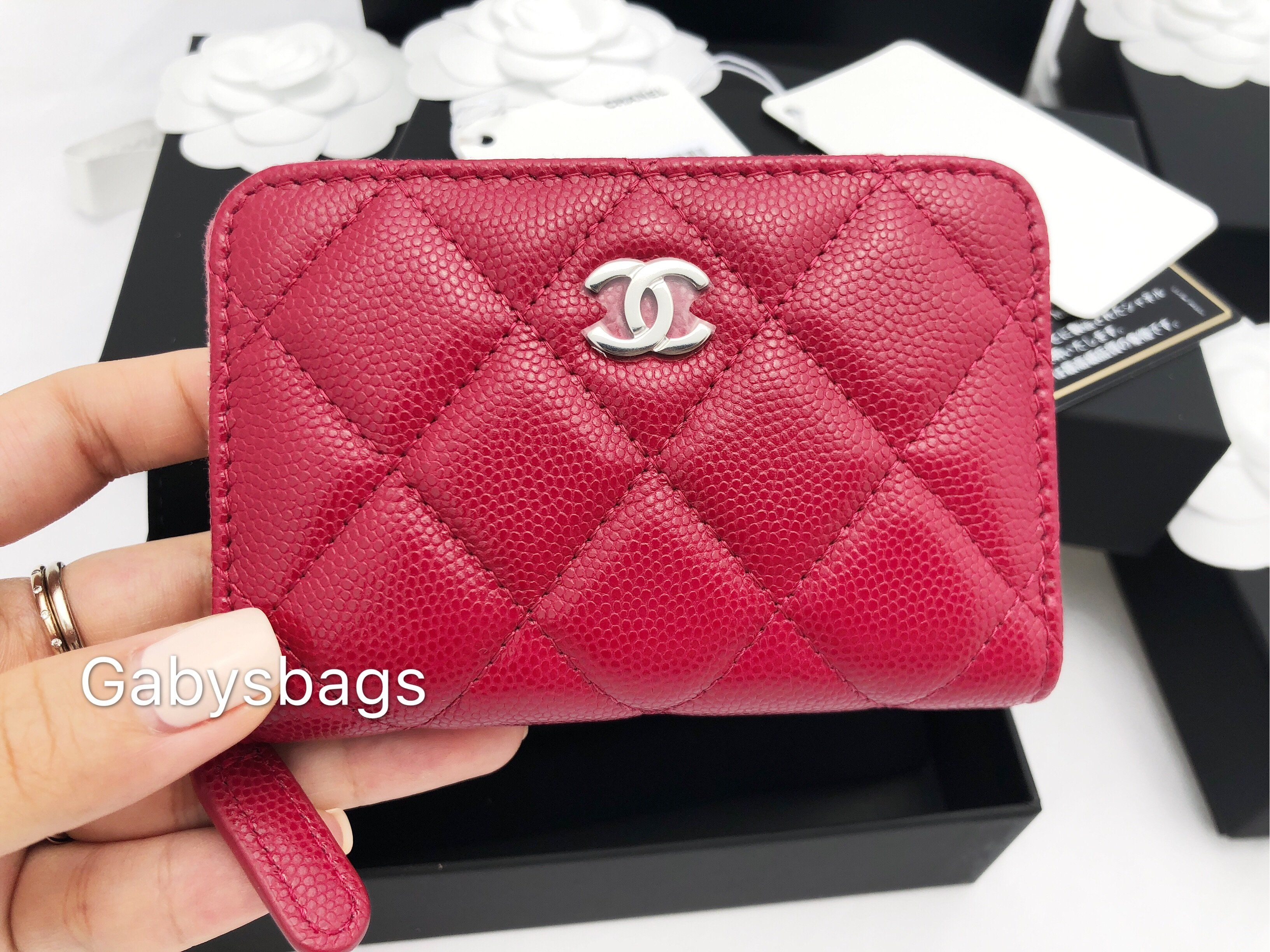 5b86687fb08b CHANEL Caviar O Coin Card Holder Zip Wallet 18B Dark Pink Red #GabysBags # Handbags
