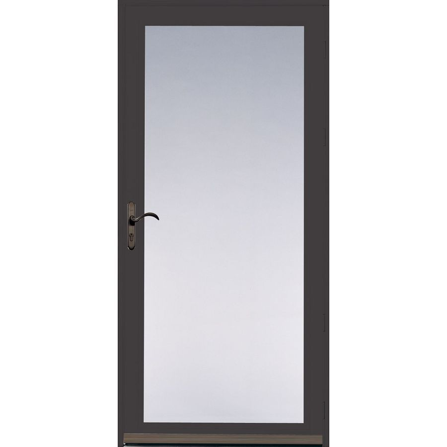 Shop Pella 36 In X 81 In Brown Ashford Full View Safety Storm Door