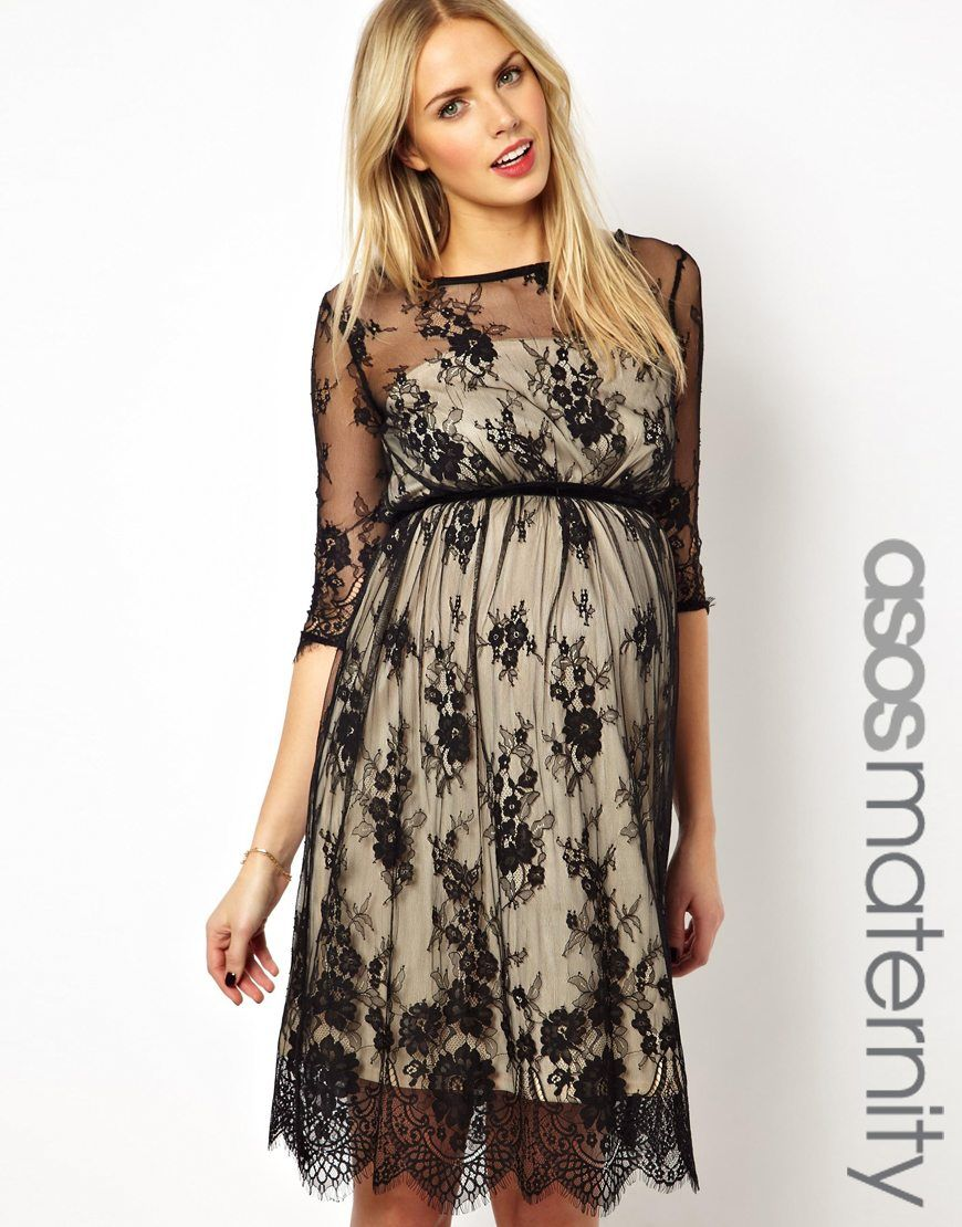 22b2888f60ef2 No I'm not pregnant. Just like the style. ASOS Maternity Exclusive Lace  Midi Dress With Scalloped Detail