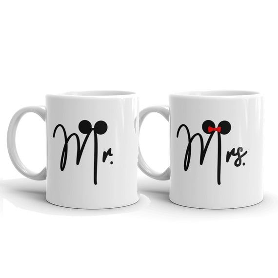 Disney Mr and Mrs Mugs, Disney Wedding Gift, Disney Coffee Mugs, Newlywed Gift