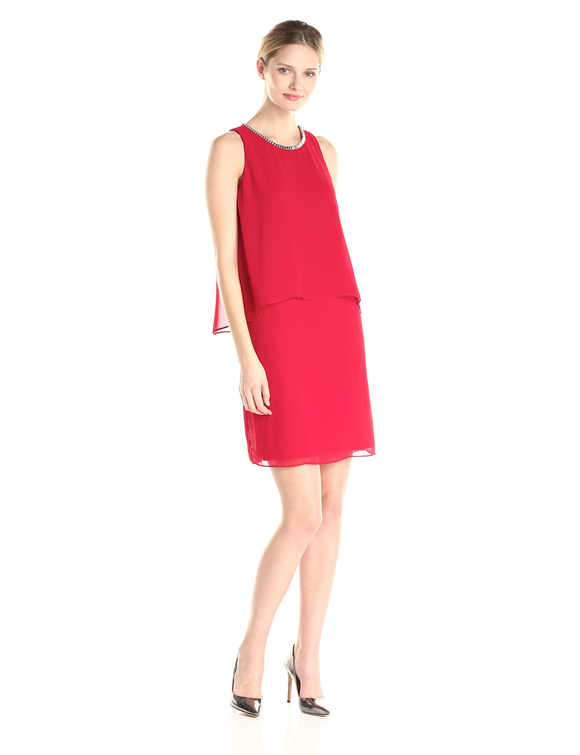 Women's Chain-Neck Overlay Dress