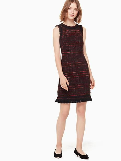 56e62507 Kate Spade Multi Tweed Fringe Dress, Bittersweet - Size 10 ...