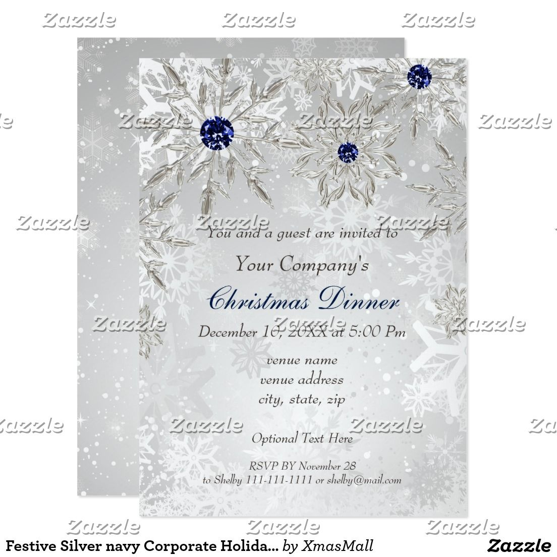 Festive Silver navy Corporate Holiday party Invite | Corporate ...