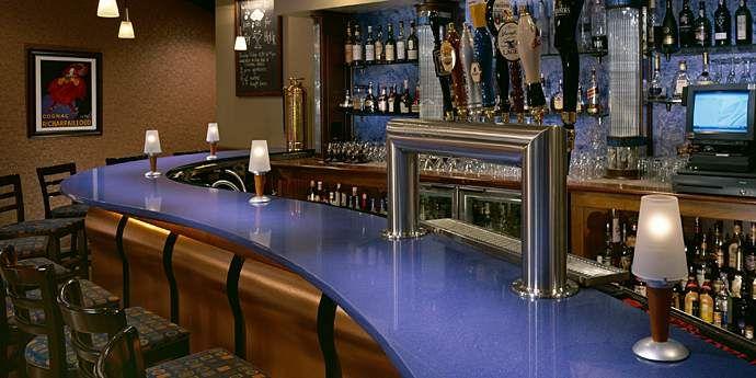 Dupontu0027s Best Value Countertops Design: Stunning Bar Design With Celestial  Blue Dupont Bartop And Barstool