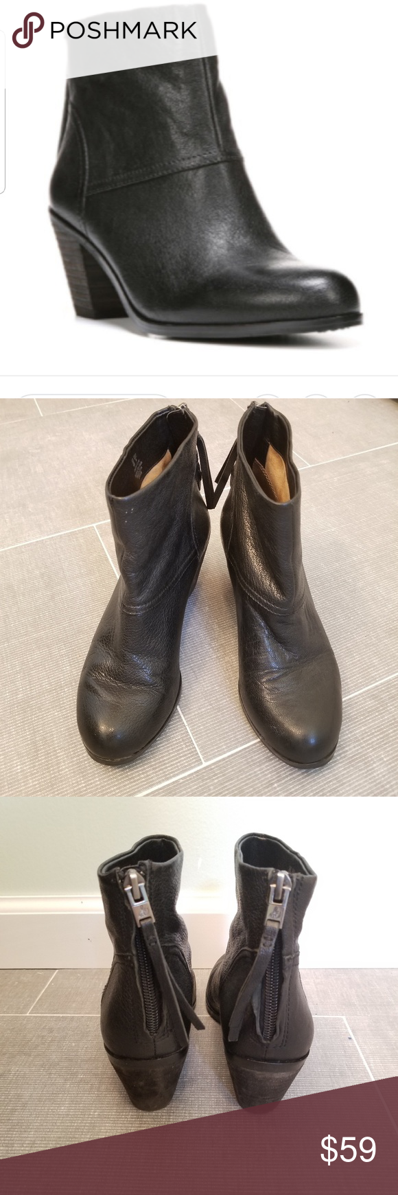 419ba0e60adc2d Sam Edelman Larkin Black Leather Ankle Bootie 6 By Sam Edelman these are  the Larkin Round