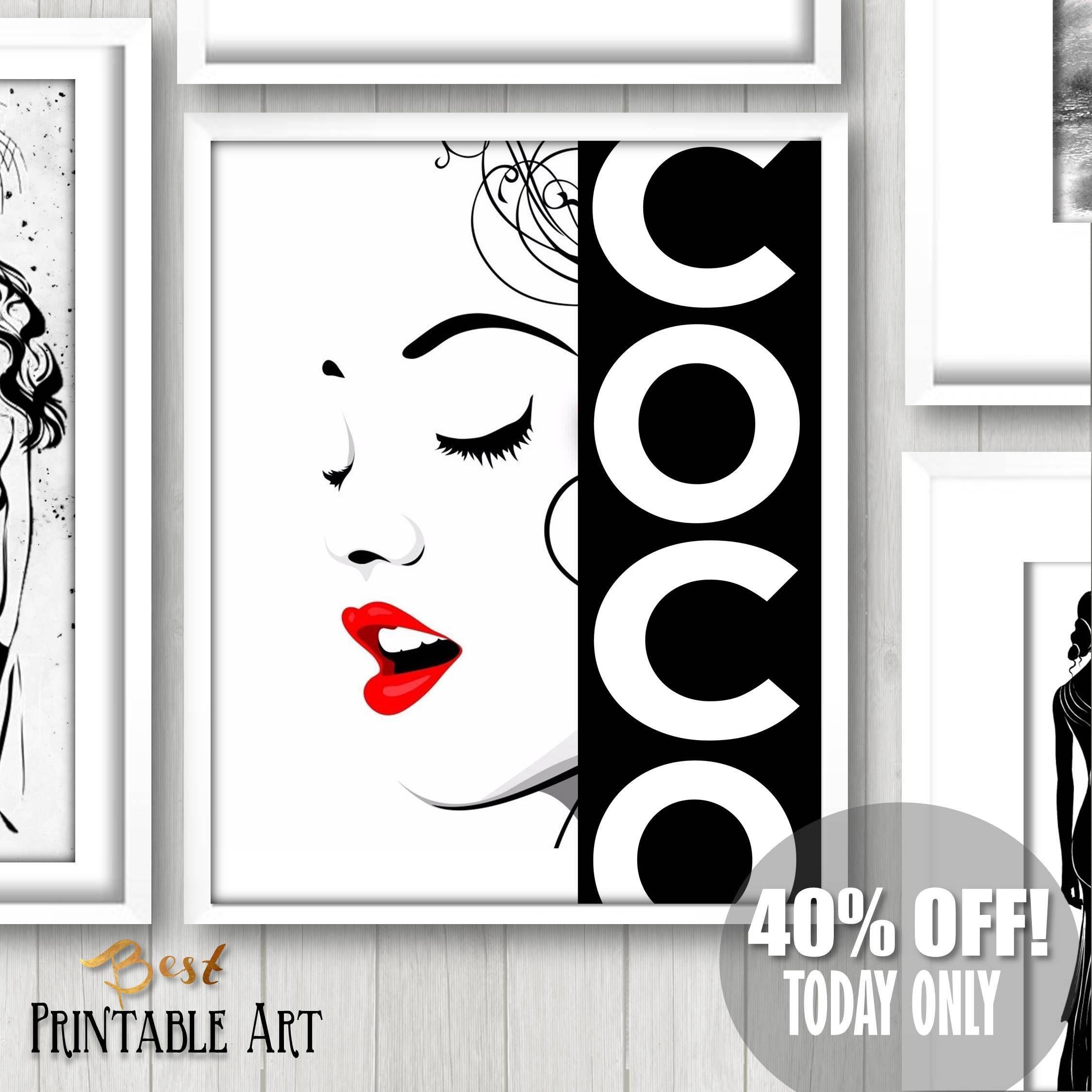 Fashion Art Decor Black And White Fashion Wall Art Fashion Etsy Printable Art Chanel Wall Art Fashion Wall Art