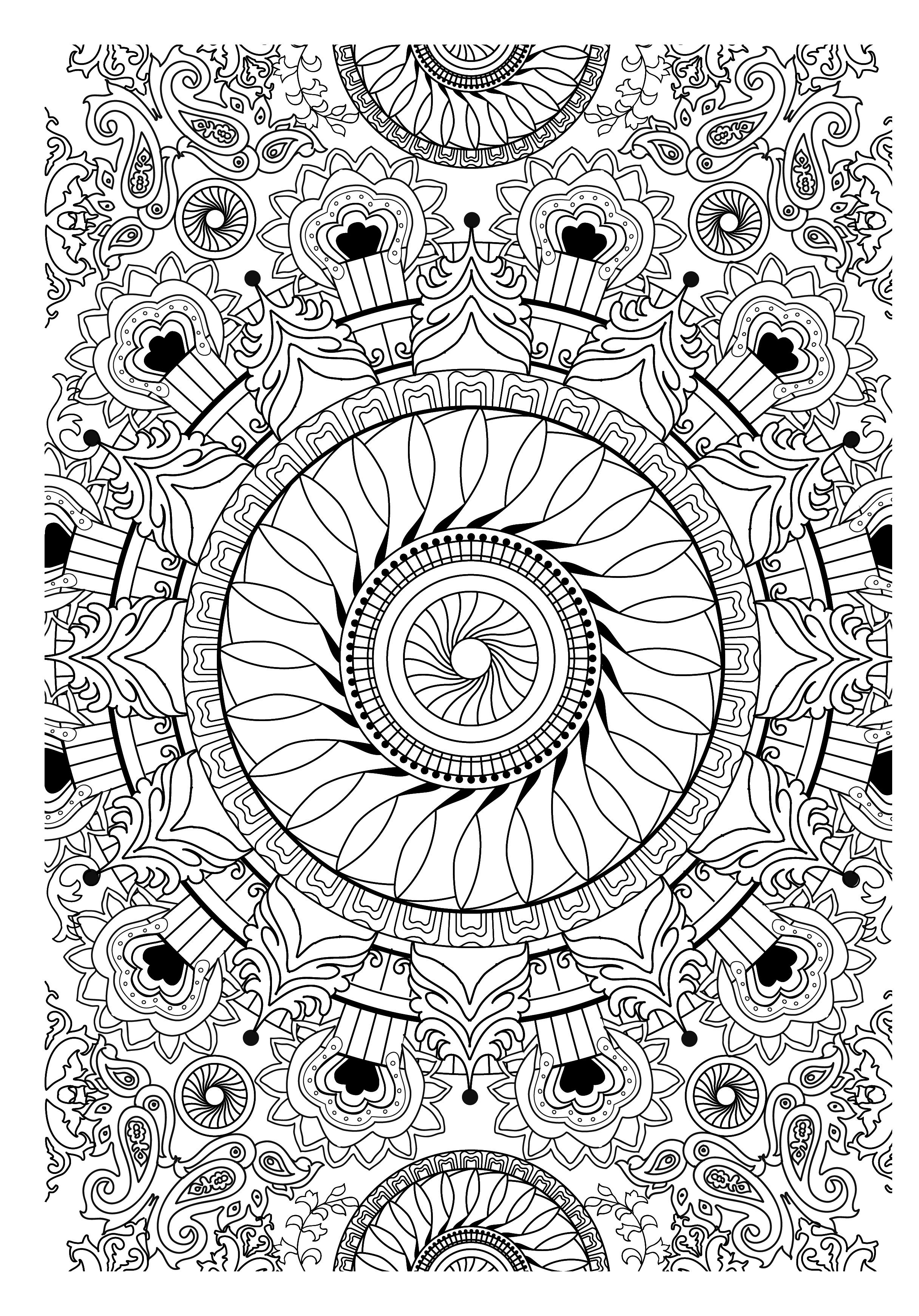 Coloriage anti stress pour adulte recherche google coloriage adult coloring pages mandala - Mandala adulte ...