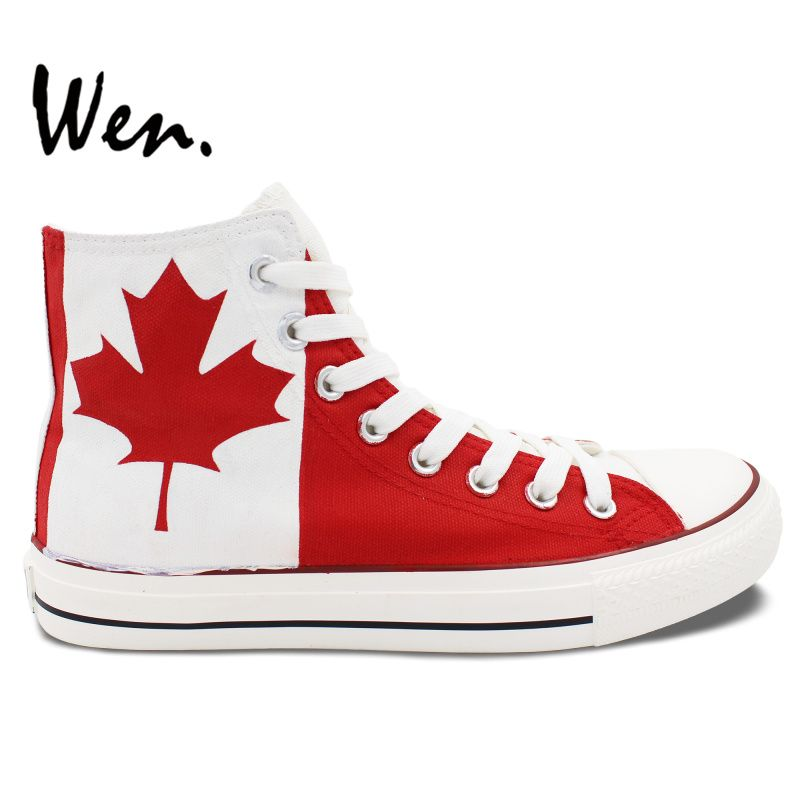 5a413c5fffc918 Wen Design Custom Hand Painted Shoes Canada Flag Maple Leaf Men Women s  High Top Canvas Sneakers