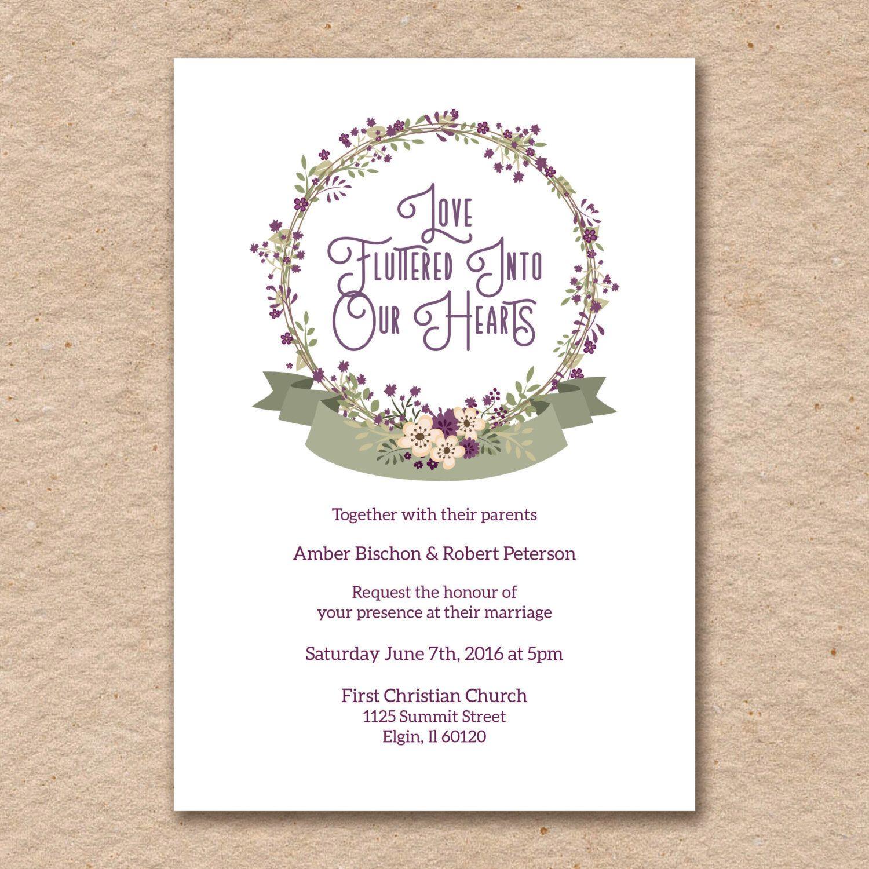 Plum Purple Wedding Invitation Set, Simple Olive and Cream Florals ...
