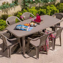 Salon de jardin: Table OCEAN + 6 fauteuils ARUBA coloris ...