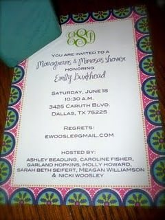 Such a cute theme: Monograms and Mimosas. Everyone sips on mimosas while the bride opens gifts with her new monogram!