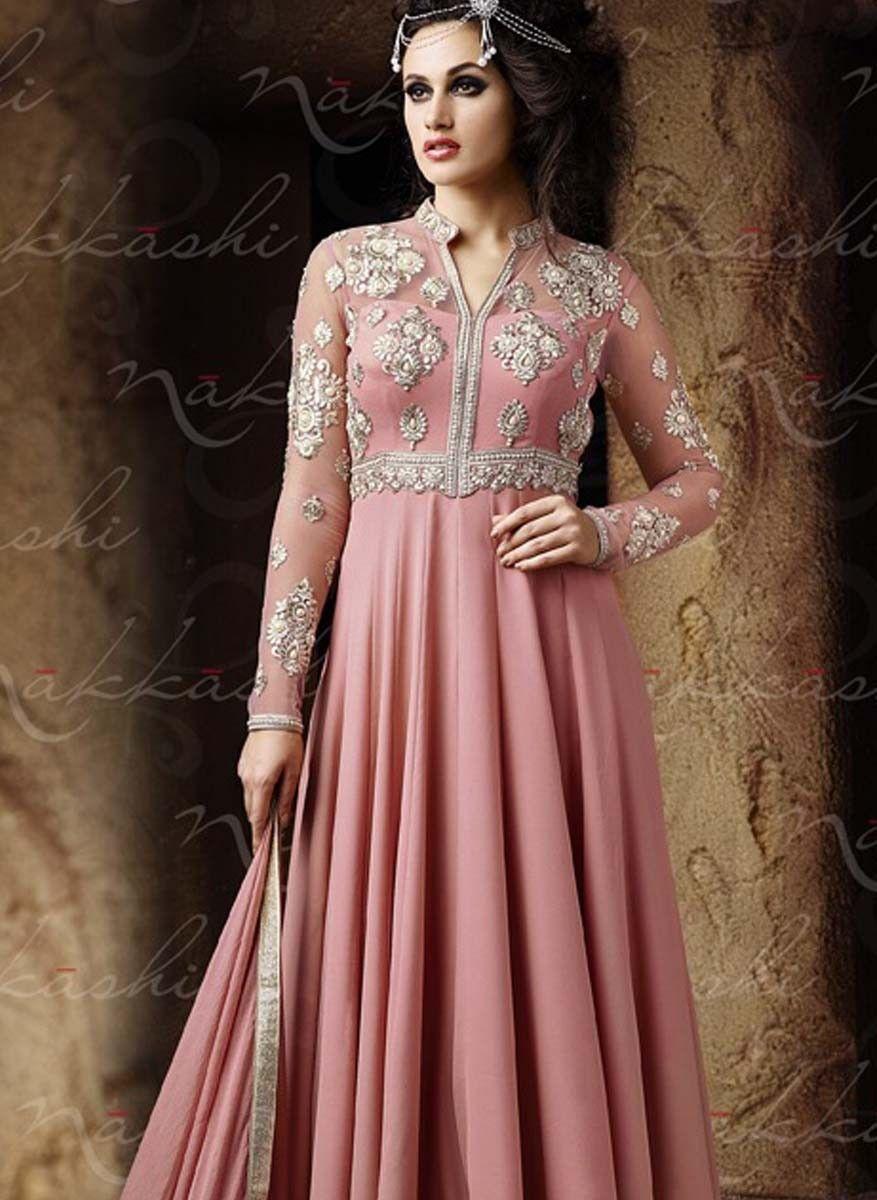Pink & Silver Anarkali Suit NK108 | Glam | Pinterest