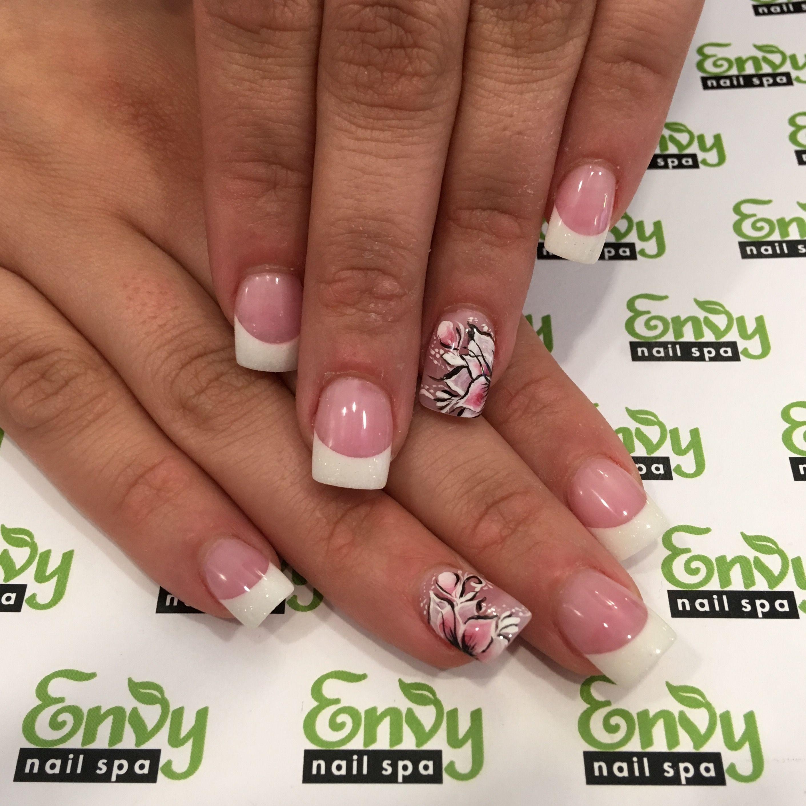Tropical Flower Pink White Nails Envy Nail Spa Butterfly Nail Designs Pink White Nails Nail Designs