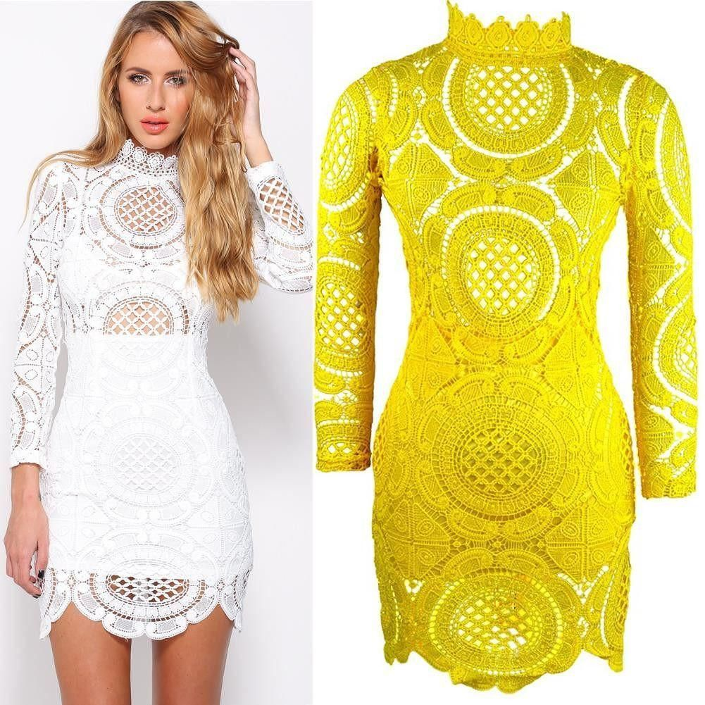 Sexy club dress summer white crochet floral long sleeve lace