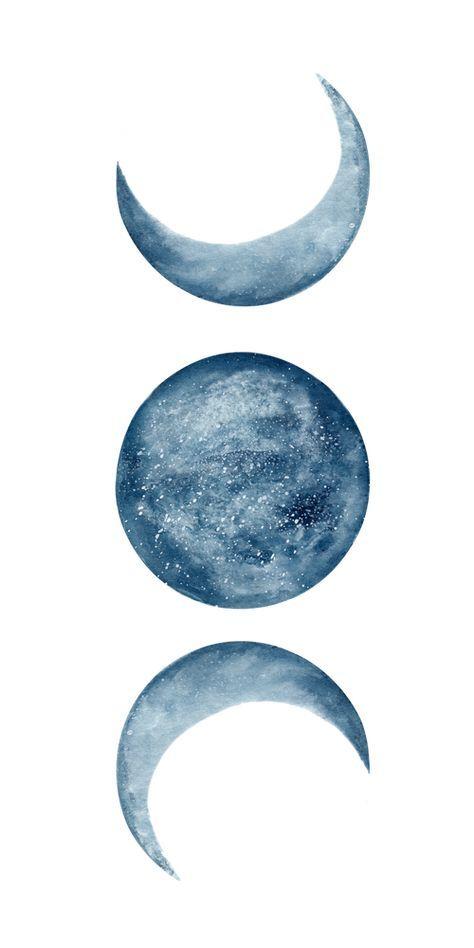 Blue Moon Phases Watercolor Mini Art Print