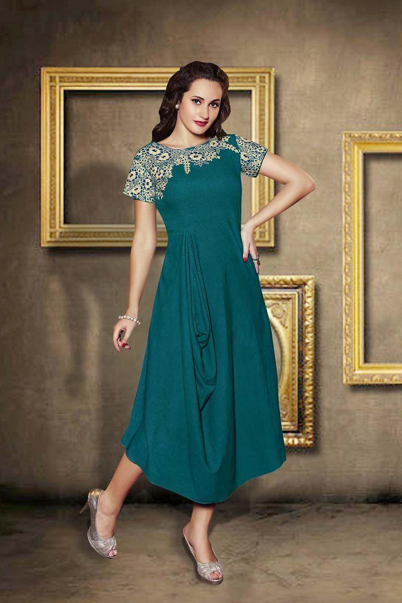 Green linen designer kurti products pinterest products