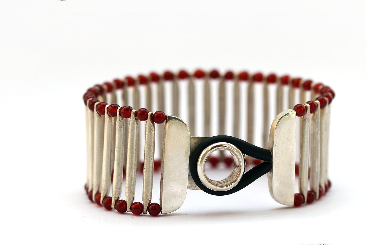 Contemporary bracelet by cadi jewelry red agate stones with