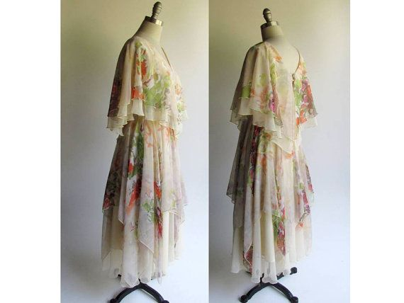 Flowing Chiffon Dress / Vintage 70s Dress / Retro Style / Greek or Goddess Dress / Layered Chiffon Stevie Nicks Boho Style / small