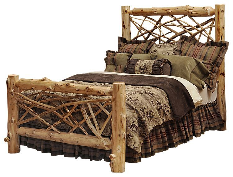 Fireside Lodge Furniture Cedar Twig Log Bed - Twin - Vintage Cedar