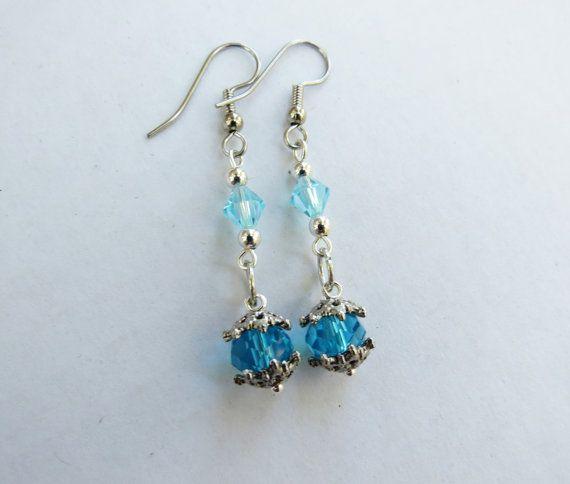 London Blue Faceted Swarovsky Crystal Dangle earrings by GypsyDreamerCafe, $10.50