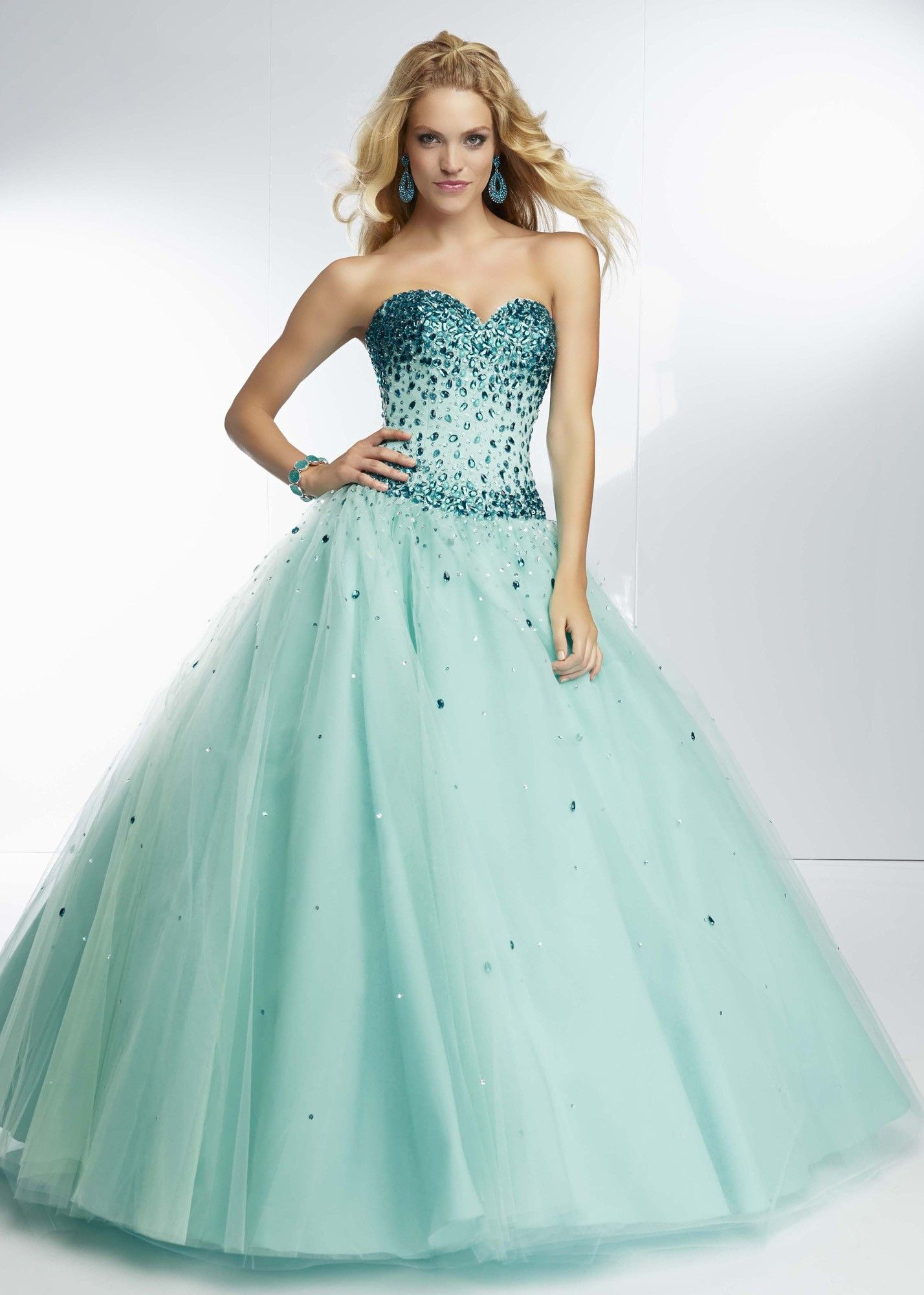 Paparazzi by Mori Lee 95083 Jeweled Ball Gown teal wedding dress ...